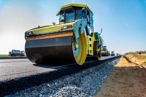 Road rollers building the new asphalt road in Arlington Virginia